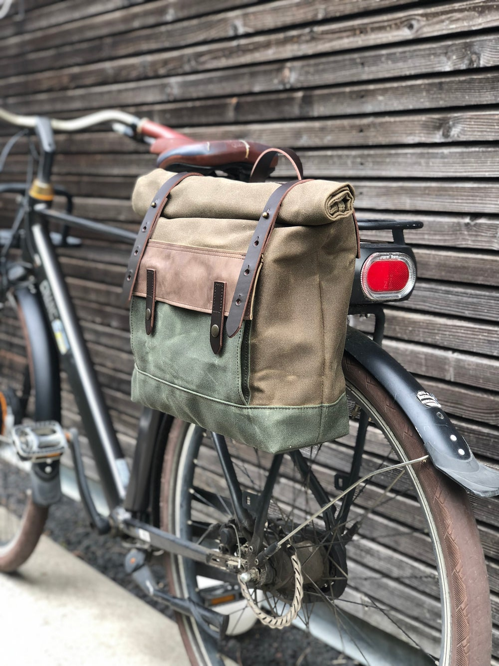 Image of Motorcycle bag in waxed canvas Motorbike bag Saddle bag Bicycle bag in waxed canvas and leather Bike