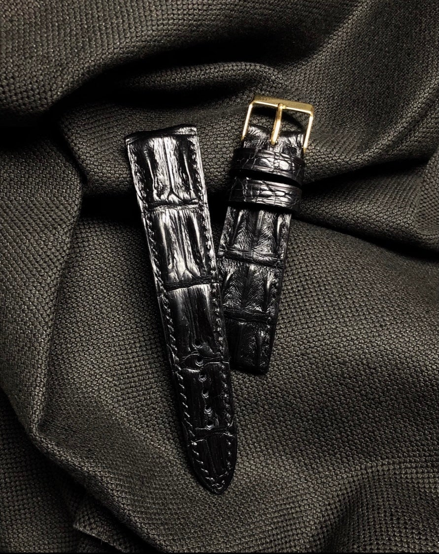 Image of Black hand painted Hornback Niloticus Crocodile watch strap
