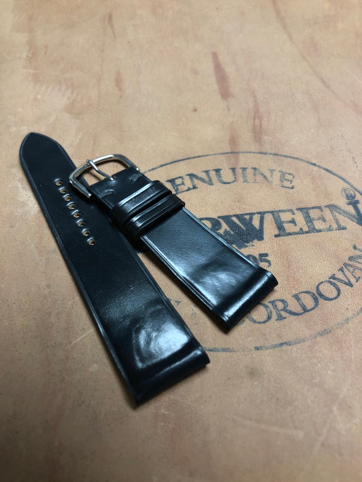 Image of Black Horween Shell Cordovan Watch Strap - Classic Black