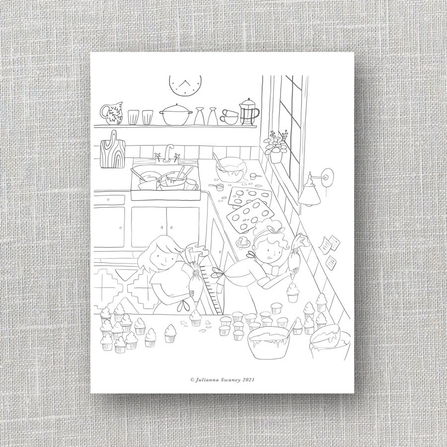 Image of Cupcake Friends  Coloring Page