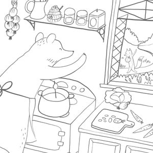 Image of Autumn Visit Coloring Page