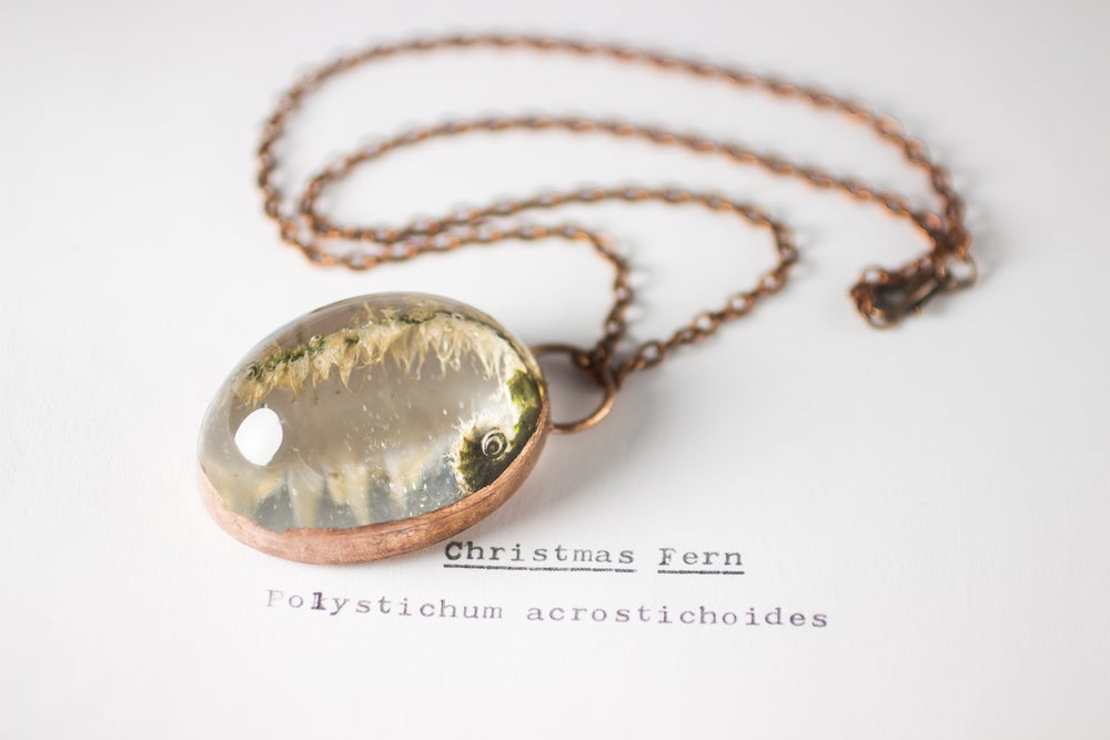 Image of Christmas Fern Fiddlehead (Polystichum acrostichoides) - Copper Plated Necklace #3