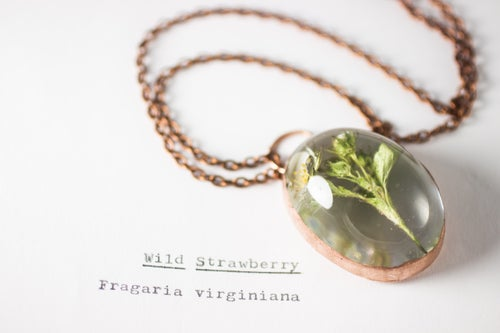 Image of Wild Strawberry (Fragaria virginiana) - Copper Plated Necklace #5