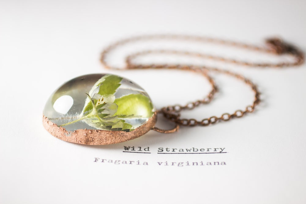 Image of Wild Strawberry (Fragaria virginiana) - Copper Plated Necklace #6