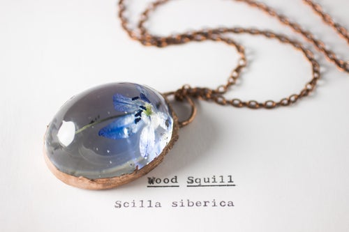 Image of Wood Squill (Scilla siberica) - Copper Plated Necklace #5