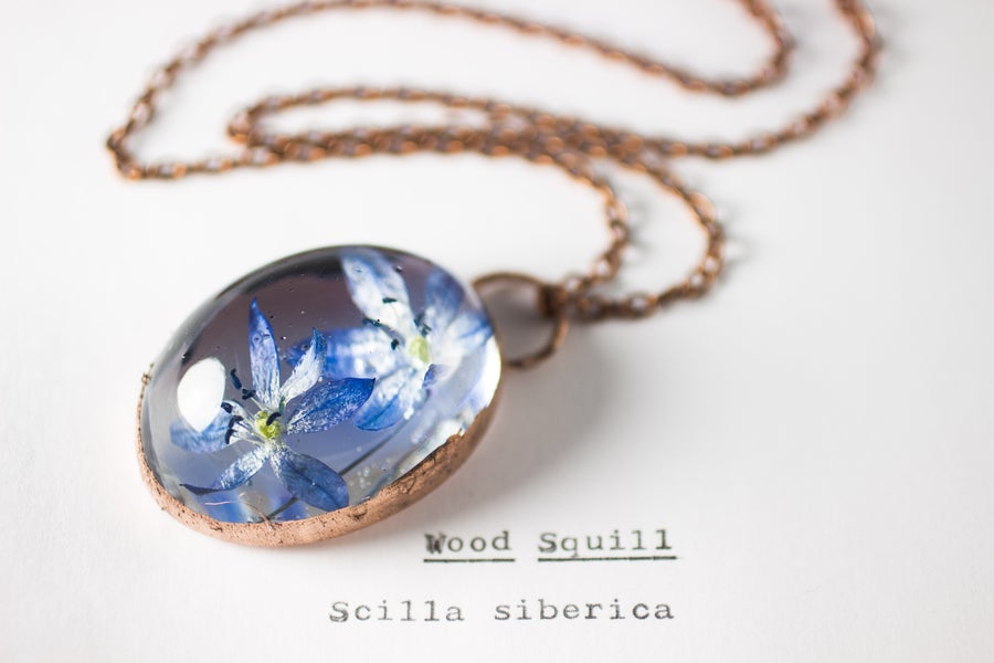 Image of Wood Squill (Scilla siberica) - Copper Plated Necklace #6