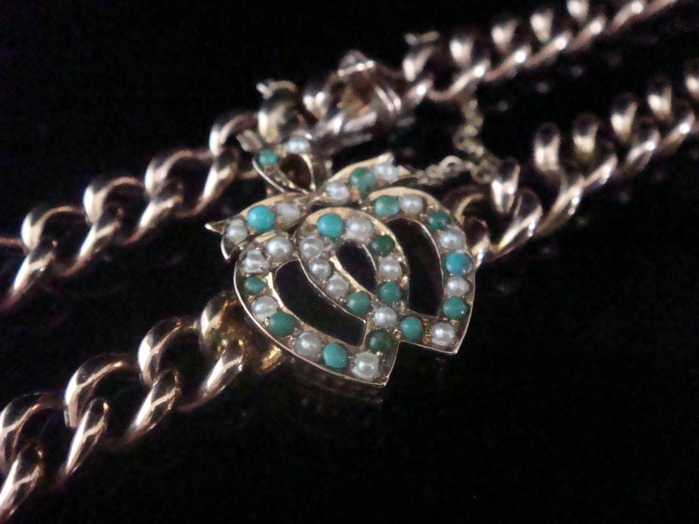 Image of Victorian 9ct rose gold natural turquoise seed pearl double heart bracelet 7.6g