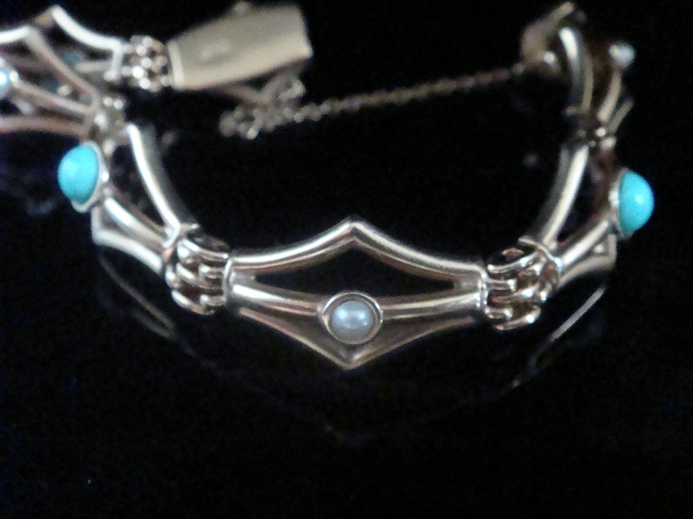 Image of Victorian 9ct turquoise and pearl unusual thick bracelet 12.2g