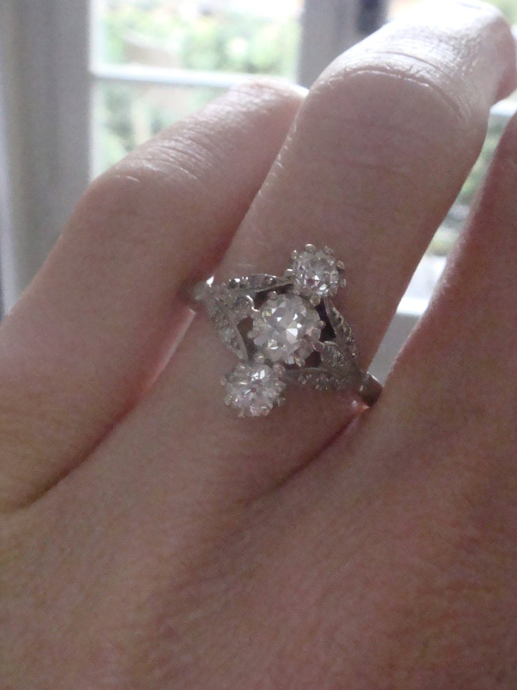Image of EDWARDIAN FRENCH 18CT PLATINUM OLD CUT NATURAL DIAMOND 1.20ct RING