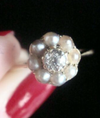 EDWARDIAN 18CT YELLOW GOLD PEARL AND OLD CUT DIAMOND CLUSTER RING