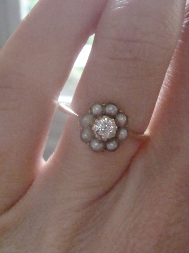 Image of EDWARDIAN 18CT YELLOW GOLD PEARL AND OLD CUT DIAMOND CLUSTER RING