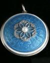Victorian 9ct rose gold enamel diamond seed pearl pendant locket glass backed