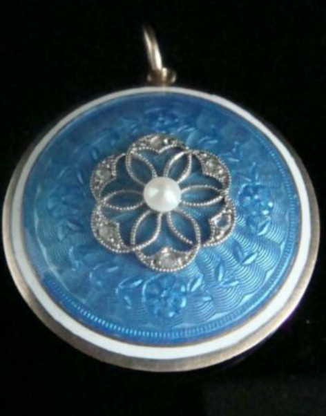 Image of Victorian 9ct rose gold enamel diamond seed pearl pendant locket glass backed