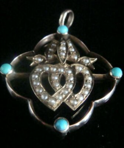 Image of Victorian 9ct rose gold 15ct yellow turquoise double heart seed pearl pendant
