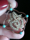 Victorian 9ct rose gold 15ct yellow turquoise double heart seed pearl pendant