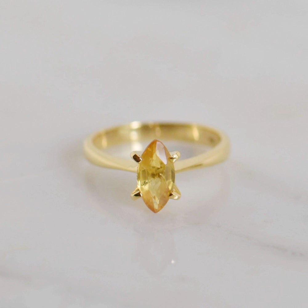 Image of Natural Honey Yellow Sapphire marquise cut 14k gold 4 claws ring