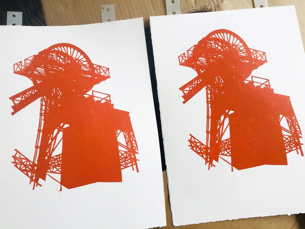 Lewis Merthyr Winding Gear linocut print
