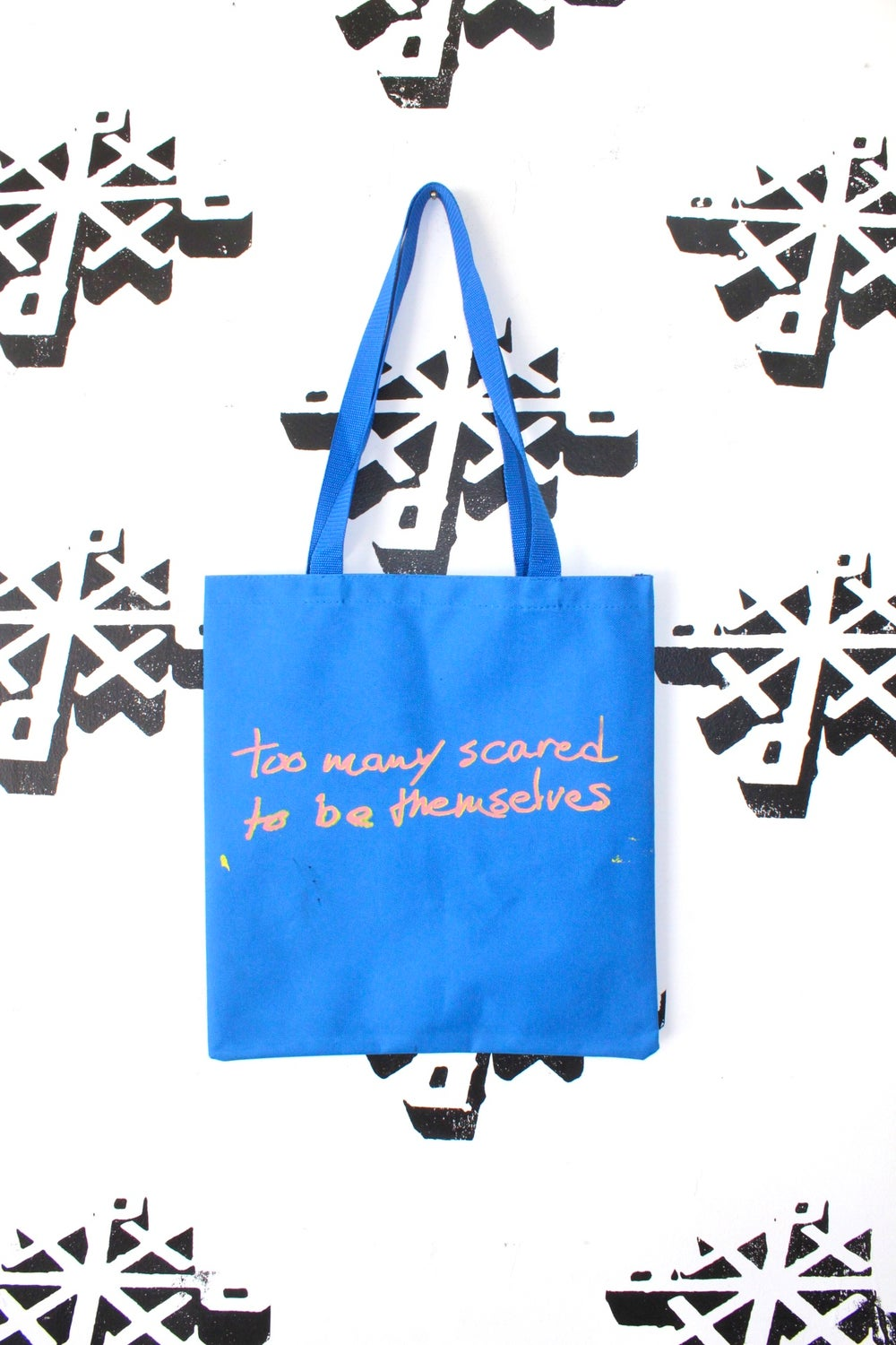 the too many tote bag in blue