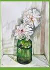 Peonies in a green vase