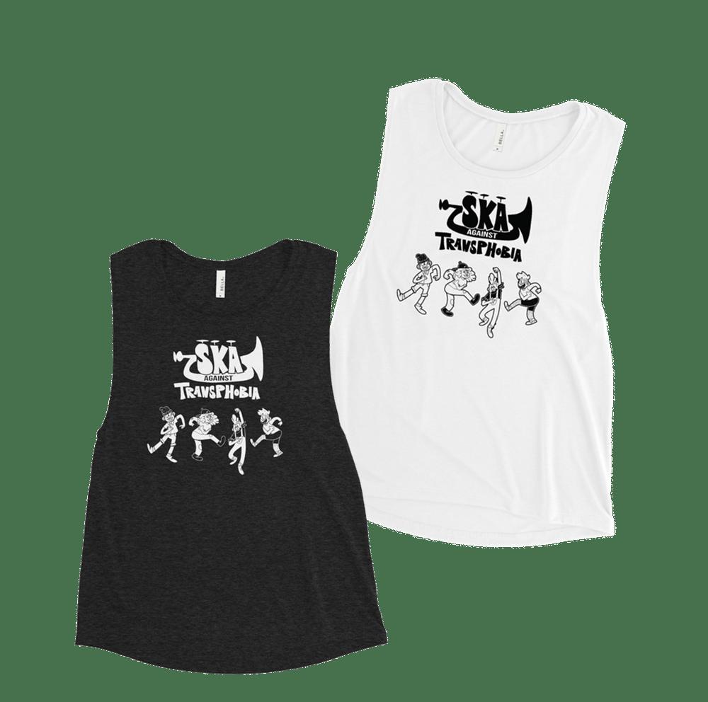 Image of PRIDE 2021 | SKA AGAINST TRANSPHOBIA | Femme Muscle Tanks - White or Black Heather