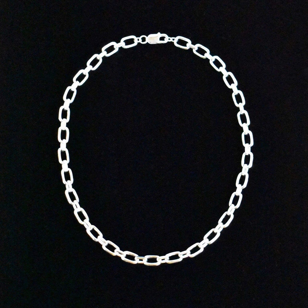 Image of Box cable links chain solid silver necklace
