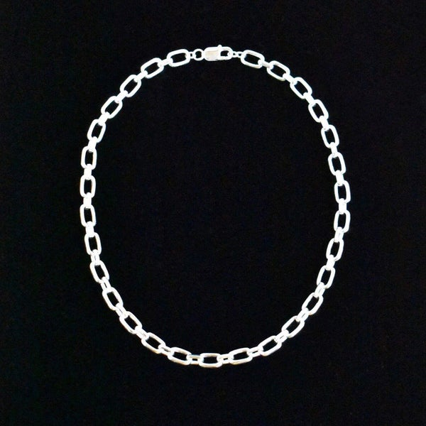 Image of Solid silver box cable link chain necklace