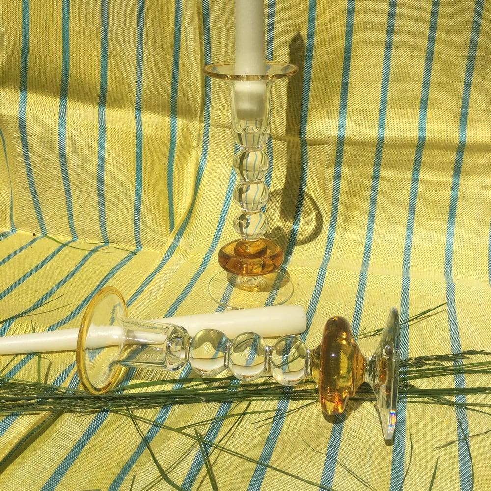Image of Hand blown art glass candlesticks