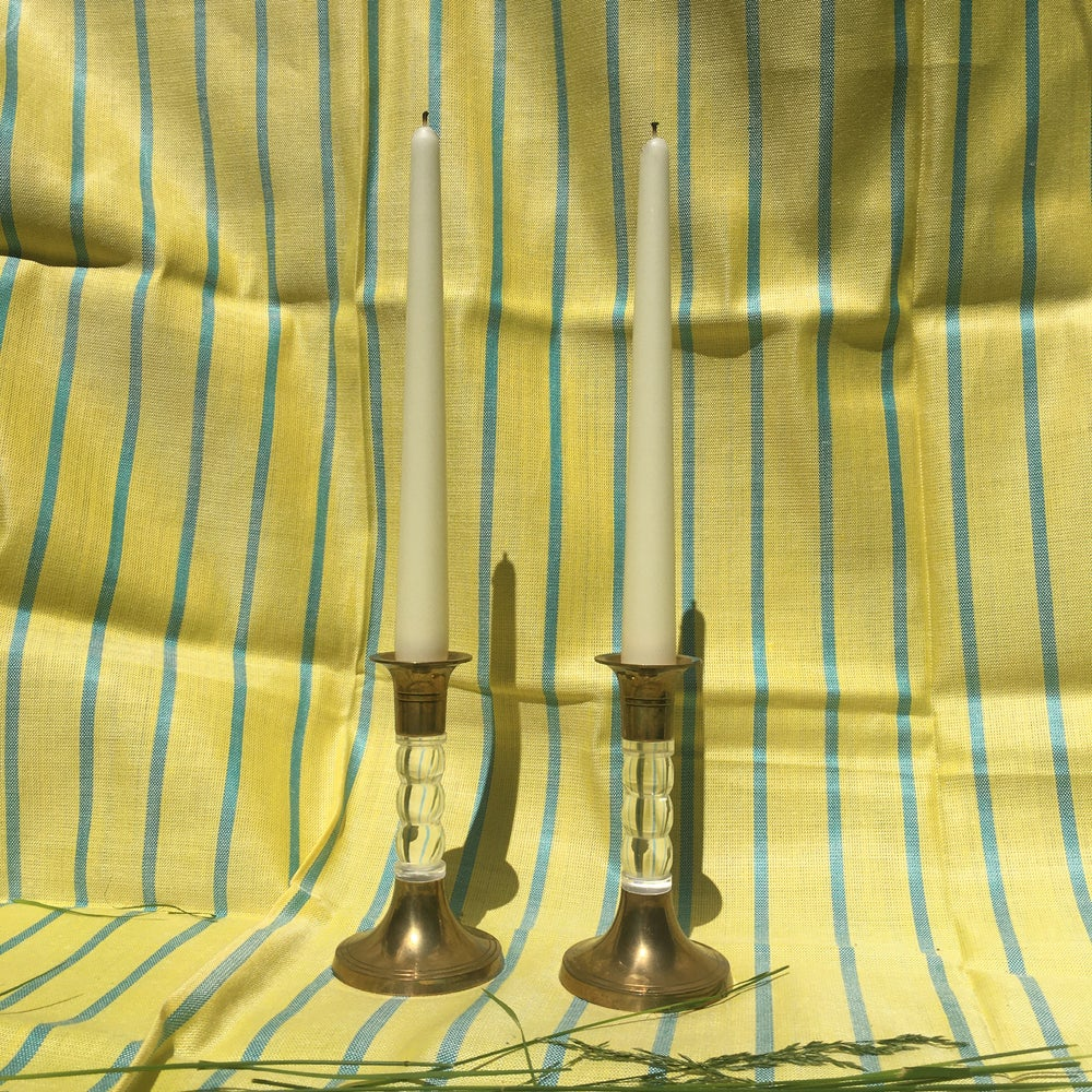 Image of  lucite and brass candlesticks