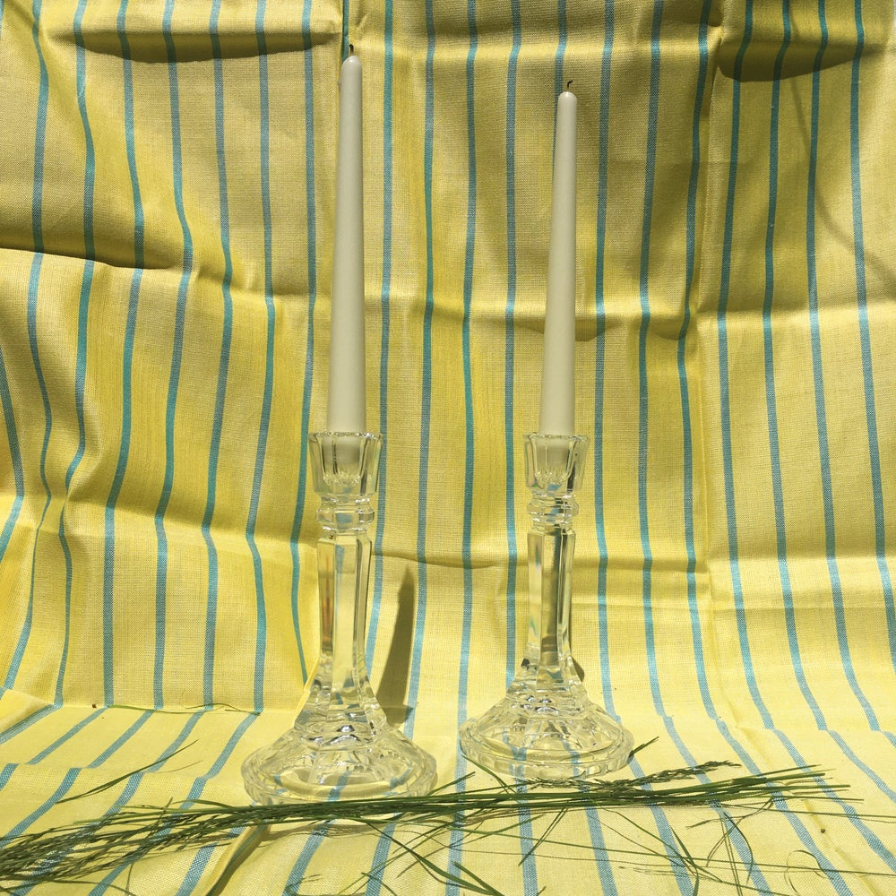Image of Pair of crystal glass candlesticks
