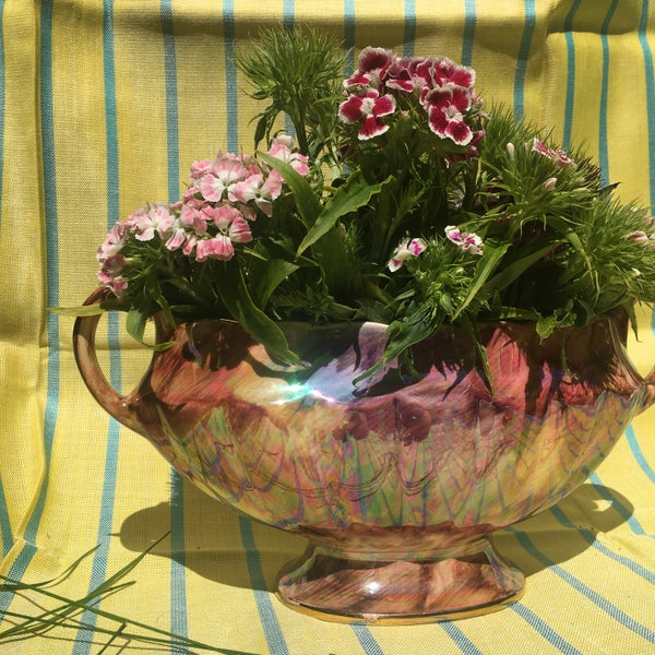 Image of Fluted lustre mantle vase