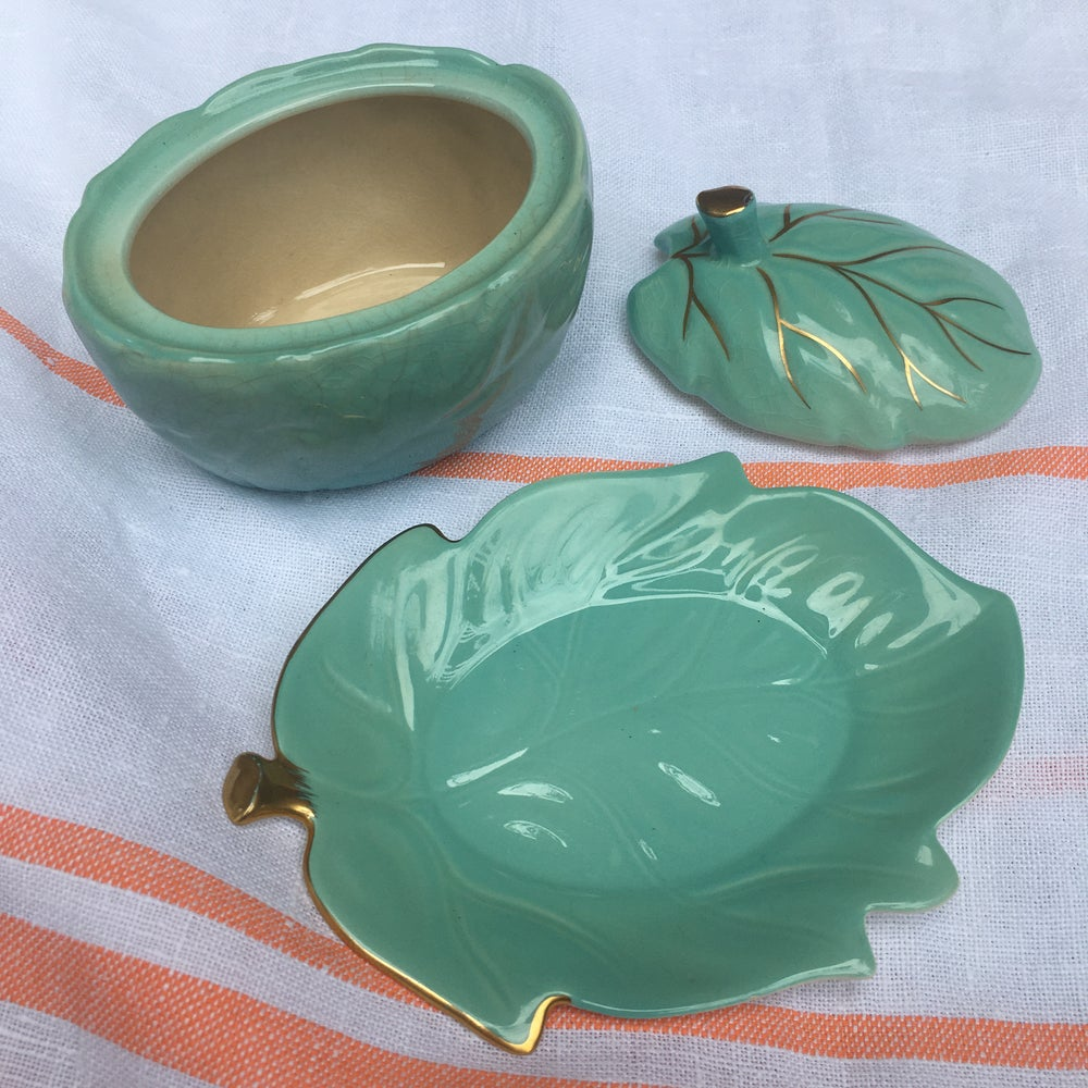 Image of Carlton ware condiment pot and plate