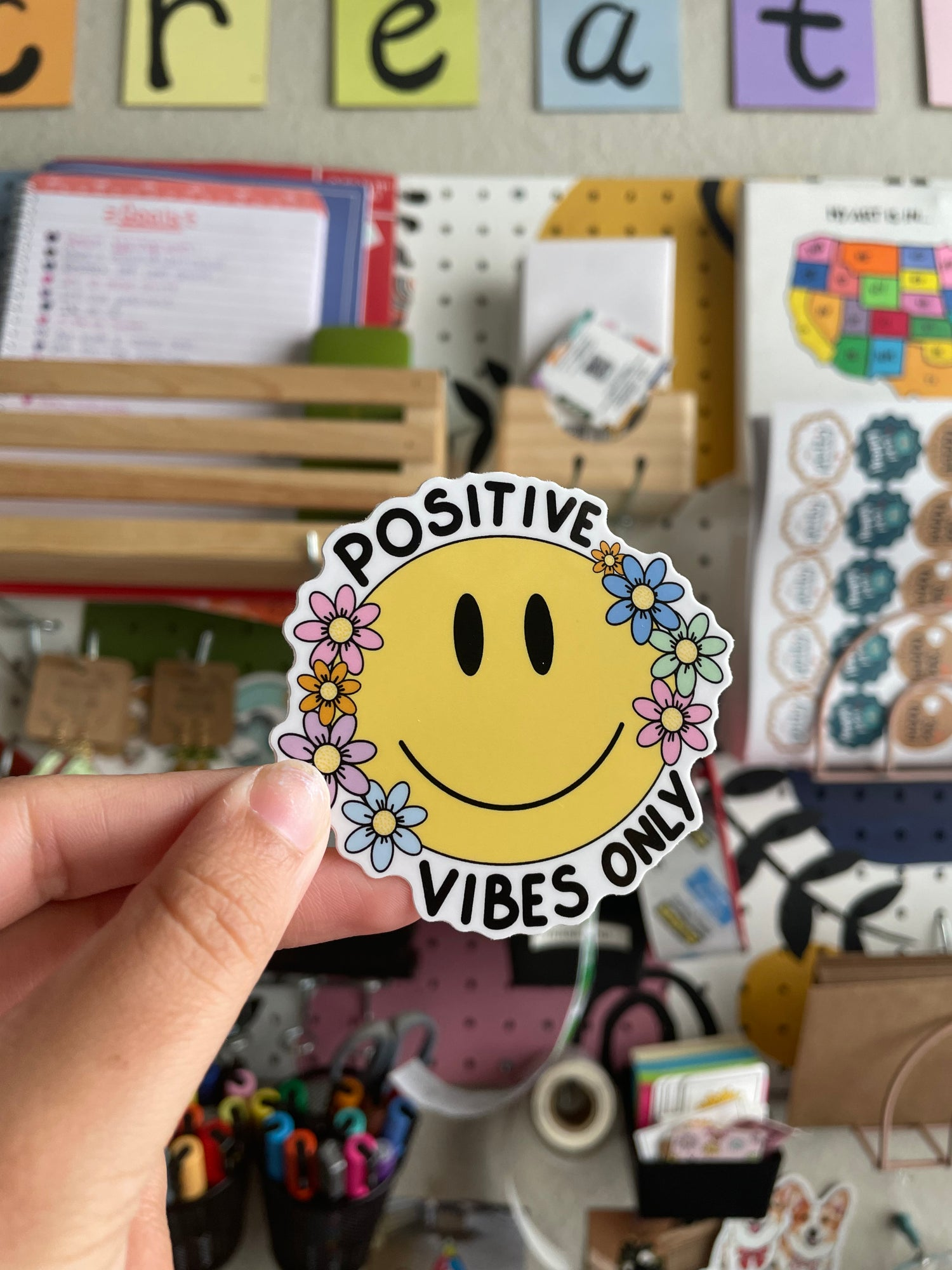 """Image of """"Positive Vibes Only"""" Sticker"""