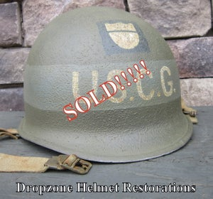 Image of WWII M1 Helmet USCG (United States Coast Guard) D-Day Normandy.