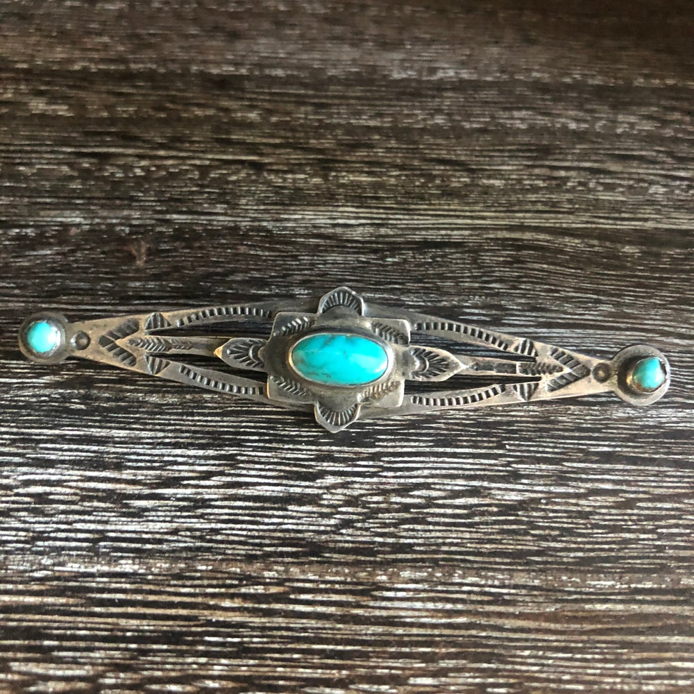 Fred Harvey Era Sterling Turquoise Pin