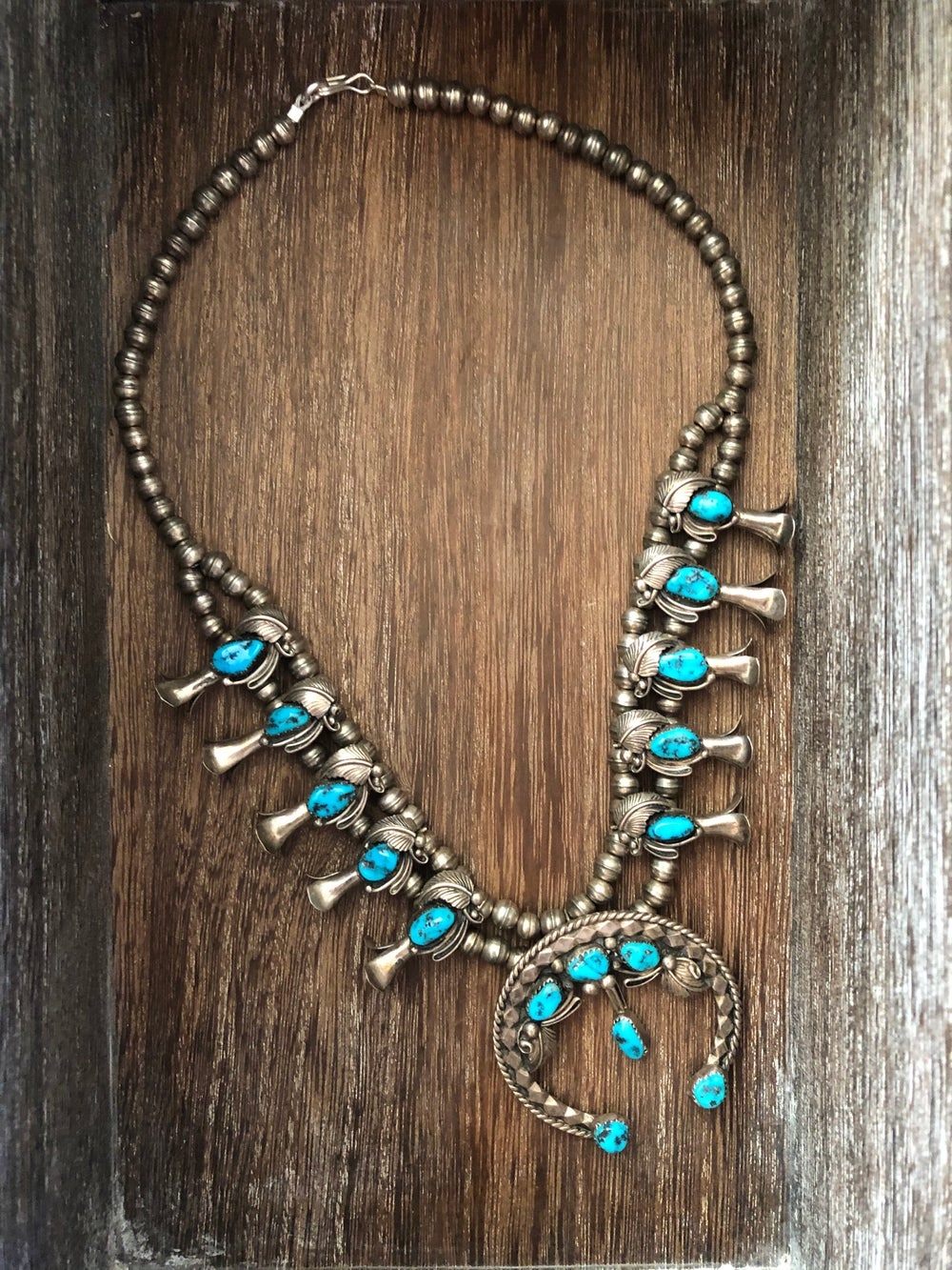 Small Sterling Turquoise Squash Blossom
