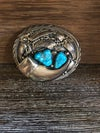 Small Sterling Turquoise Belt Buckle