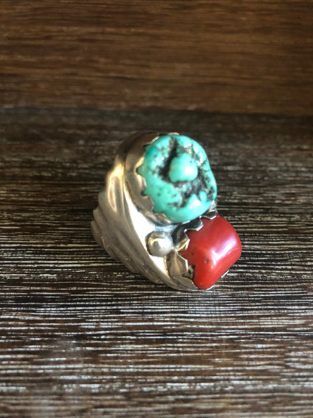 Huge Heavy Sterling Turquoise Ring
