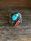 Sterling Turquoise Coral Ring