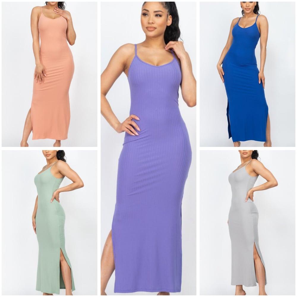 Image of #1107 Ribbed sleeveless 2 sides slit long sexy dress