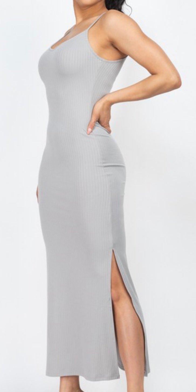 Ribbed sleeveless 2 sides slit long sexy dress