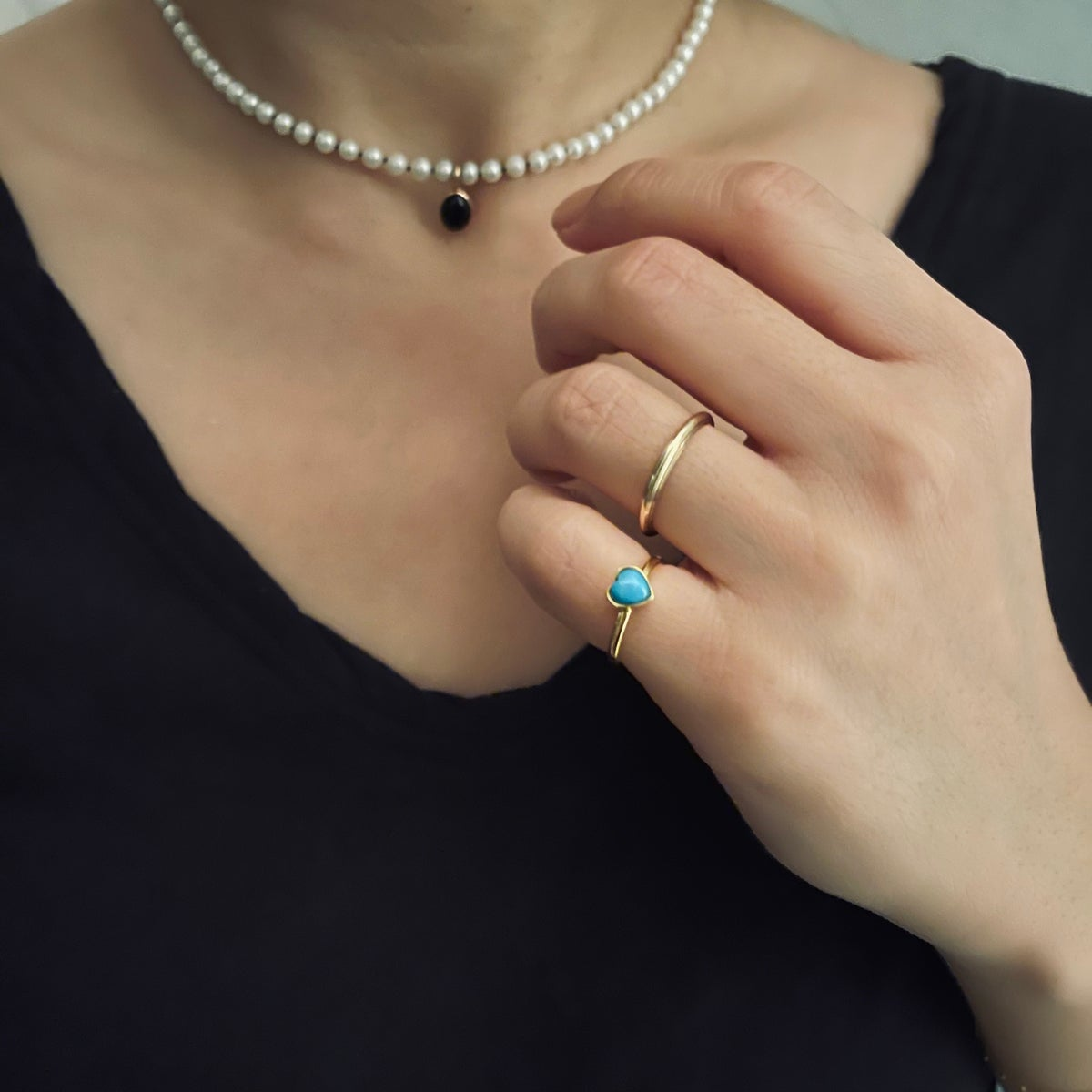Image of Sleeping beauty mini heart ring