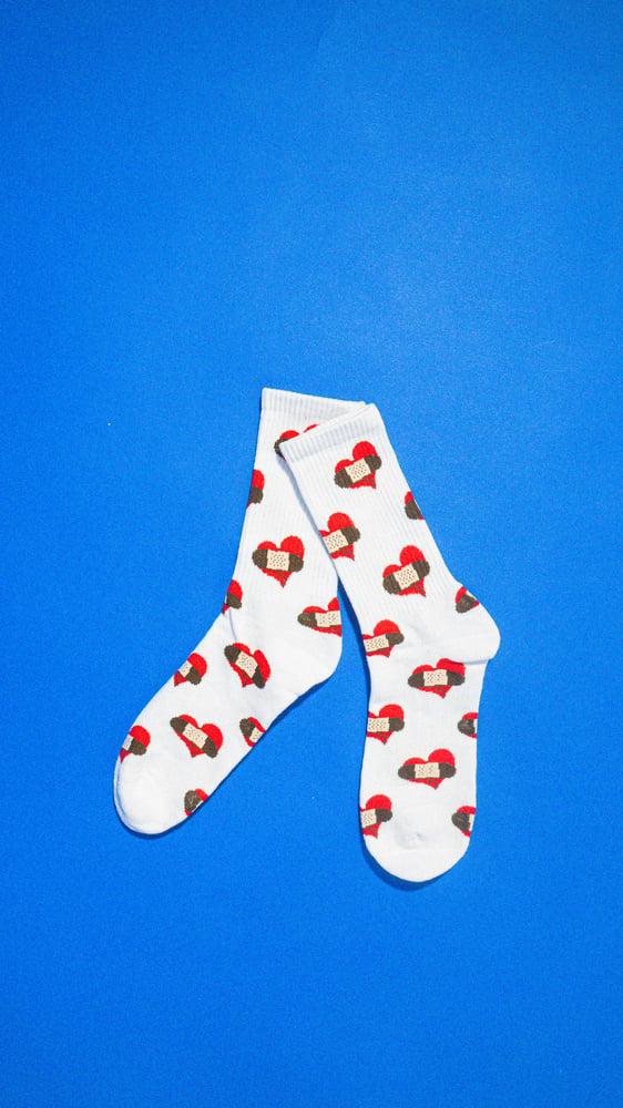 Image of BHC LOGO Knit Crew Socks (white)