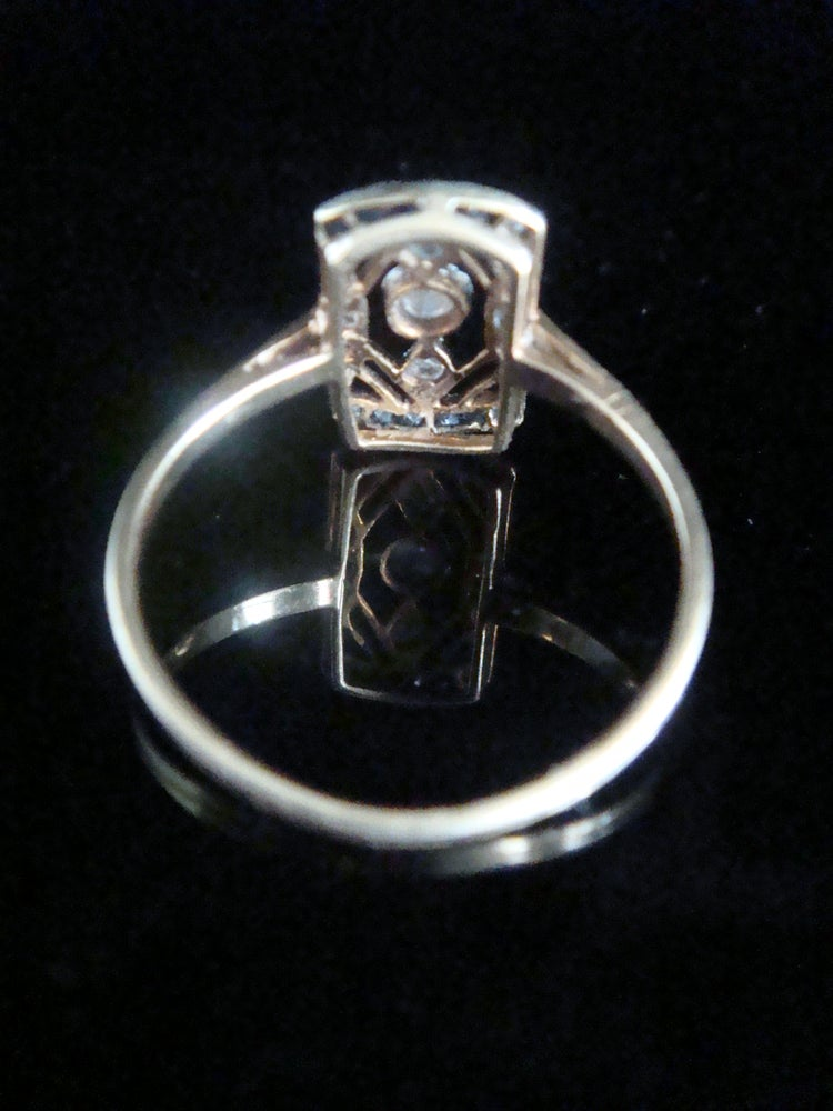 Image of EDWARDIAN ART DECO FRENCH 18CT YELLOW GOLD SAPPHIRE DIAMOND PLAQUE RING