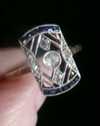 EDWARDIAN ART DECO FRENCH 18CT YELLOW GOLD SAPPHIRE DIAMOND PLAQUE RING