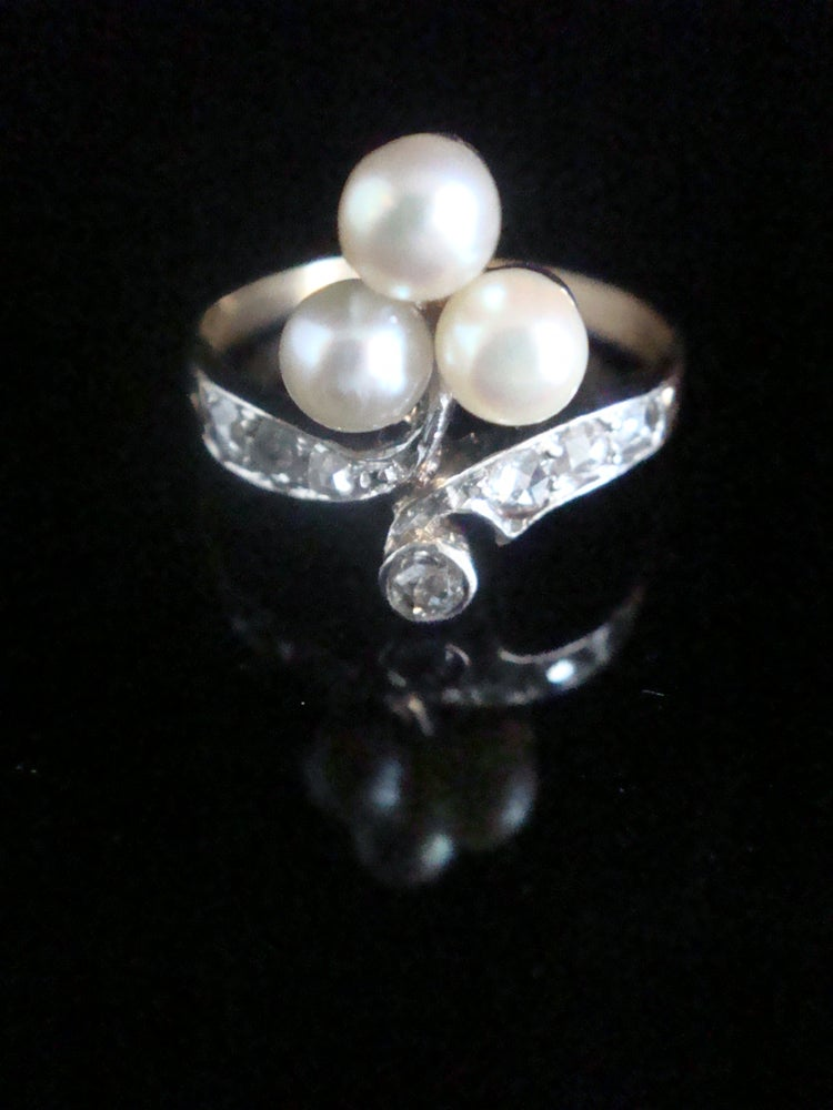 Image of EDWARDIAN ART DECO FRENCH 18CT YELLOW GOLD CULTURED PEARL & DIAMOND RING