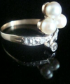 EDWARDIAN ART DECO FRENCH 18CT YELLOW GOLD CULTURED PEARL & DIAMOND RING