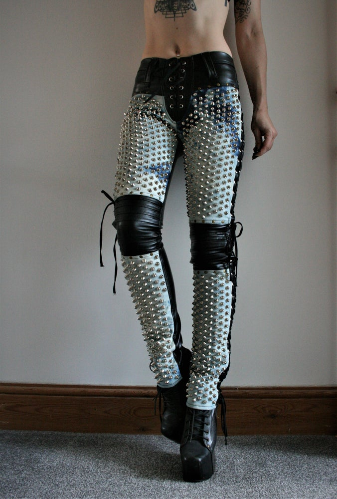 Image of DENIM AND LEATHER SUPER STUD PANTS