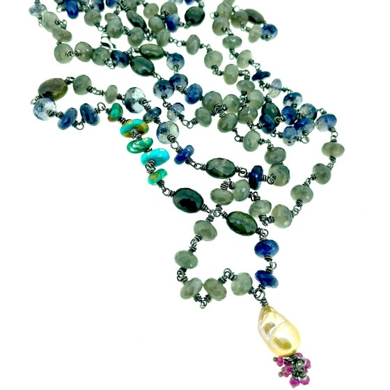 Image of Iolite, scapolite, and grey moonstone mala by peaces of indigo
