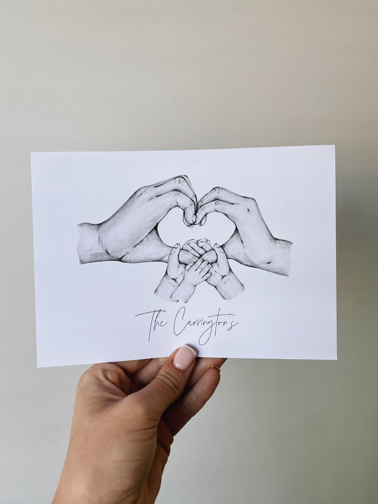 Image of Family love heart hands print