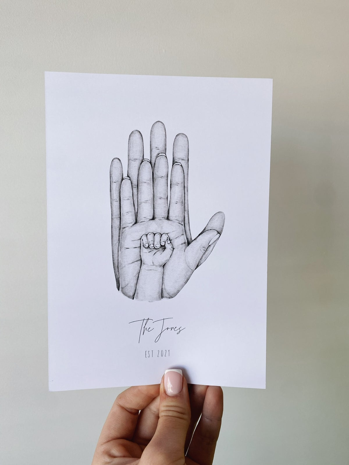 Image of New baby family hands print